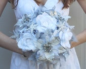 DRAMATIC Winter Wonderland Feathers & Flowers Bridal Bouquet White Silver Snowflake BLING WEDDING Feather Poinsettia Rose Bride Bouquets