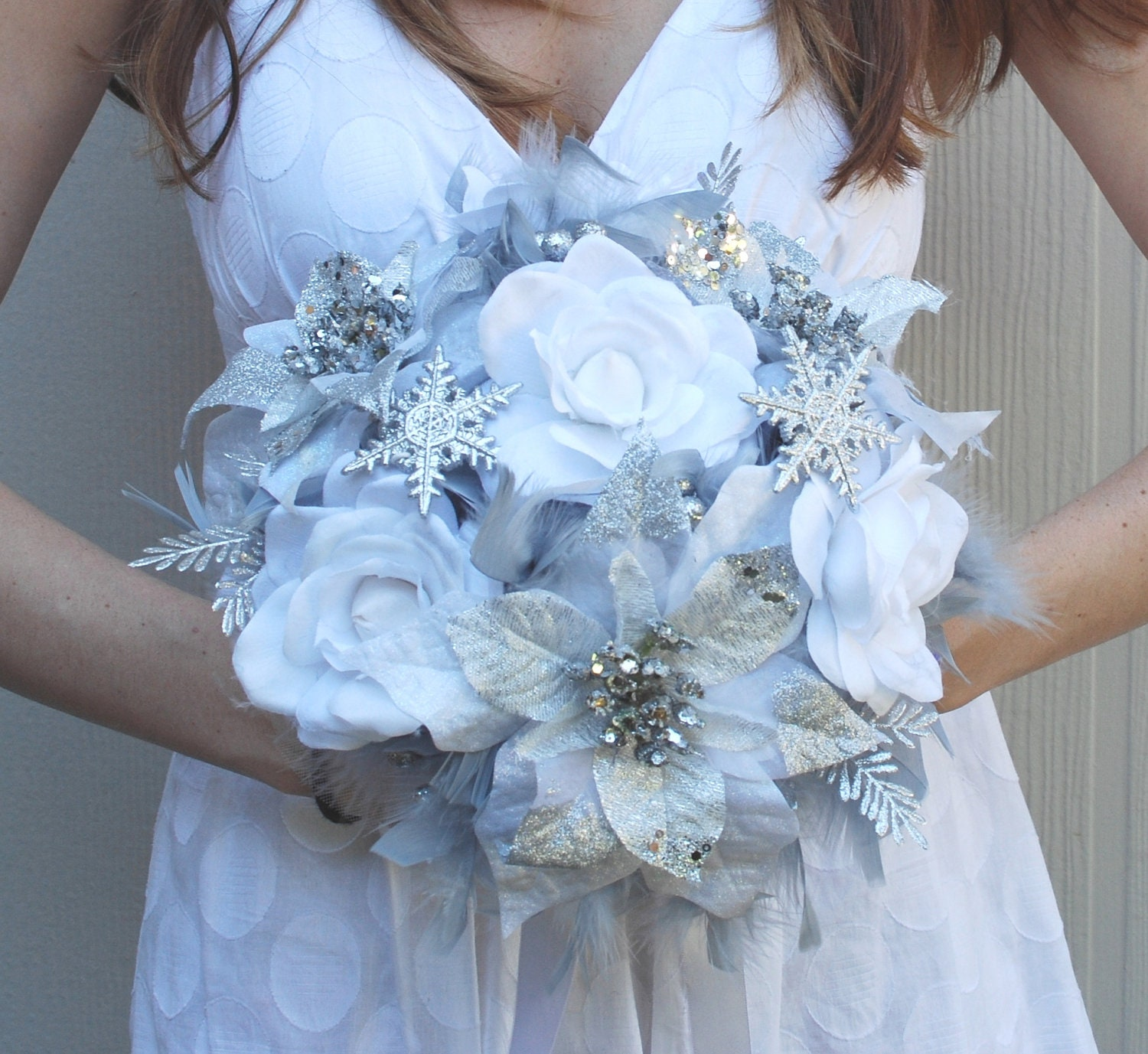 Diy Feather Bouquets Weddings: DRAMATIC Winter Wonderland Feathers & Flowers Bridal Bouquet