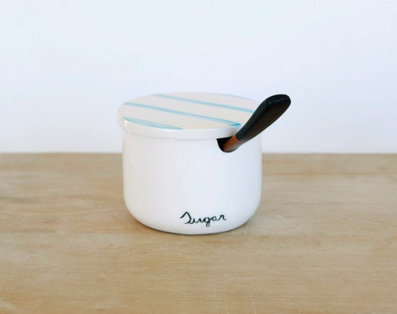 Ceramic Sugar bowl with lid and bamboo spoon / Exclusive and handmade