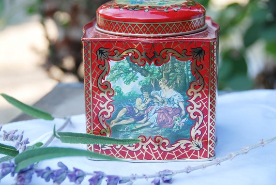 Vintage Tea Tin, DAHER, Red, Gold Lovers, England