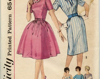 1960s Vintage Sewing Pattern Simplicity 4257 Misses One Piece Dress Two Skirt Variations Detachable Collar Bust 38