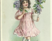 "Purple Clemantis And Victorian Girl  - Raphael Tuck & Son's ""Birthday"" Series No. 250 - Early 1900 Vintage Postcard"