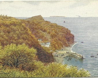Antique Postcard - Salmon Series Water Colour by A. R.  Quinton Clovelly From The Hobby Drive - 1910s - 1920s - Artist Signed