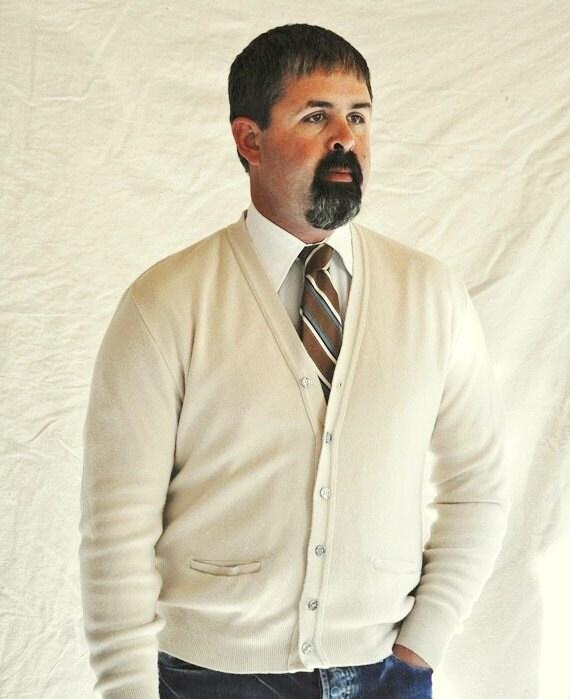 Cream Cardigan Men's Off White Sweater XL Extra Large Men's Cardigan. Eveteam