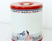 Vintage Canister Tin - Red, White, and Blue