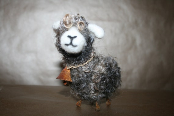 Needle Felted Spring Lamb- Needle Felted 100% BFL Wool Soft Sculpture