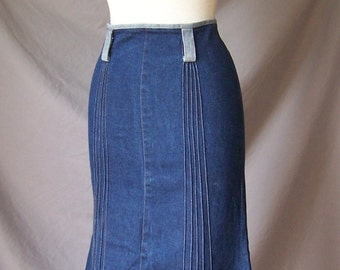 vintage high waist denim mermaid skirt sm