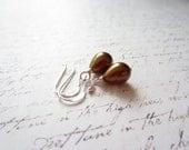 Bronze Drop Earrings, Brown Drop Earrings, Bridal Earrings, Made In Sweden, Swedish Jewelry Design by Thyll, Scandinavian Jewelry