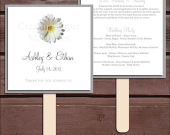 White Daisy Program Fans Kit - Printing Included. Wedding ceremony programs