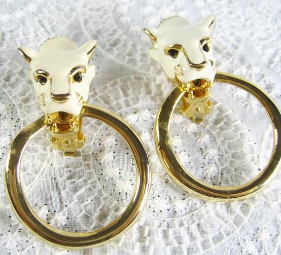 Vintage Statement Earrings, White Enamel Figural Lions, HUGE Big Large, Gold Door Knockers, OOAK Clip-ons, 1980s MOD Jewelry