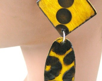 Yellow Leopard Earrings