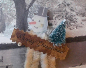 MERRY CHRISTMAS SNOWMAN Vintage Style Chenille Ornaments ~ Pair of 2 ~ Old World Charm & Nostalgia!
