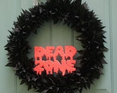 "HALLOWEEN WREATH, Halloween Rag Wreath in Black,  Black Rag Wreath, Black Halloween Wreath, 24"", Dead Zone, Spooky Wreath, Halloween Decor"