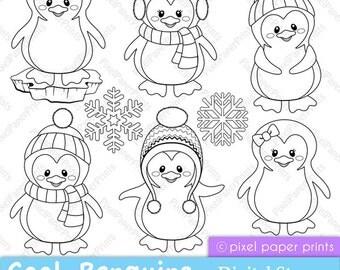 Cool Penguins - Digital Stamps