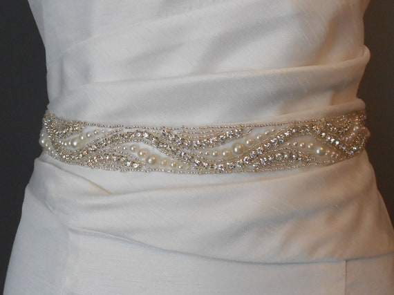 Bridal sash beaded sash wedding dress sash rhinestones pearls for Wedding dress sashes with crystals
