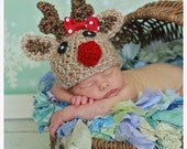 Christmas SALE Baby Reindeer hat with Bow 25% OFF in July Only (sizes nb-child)