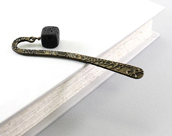 Beaded bookmark: black stone bookmark for men and women, black lava bookmark, black rock, gift for father, grandfather, teacher