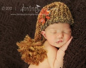 Luxe Homespun Knit Handmade Crochet Pixie Elf Elfin Pom Pom Hat Baby Newborn Photography Prop