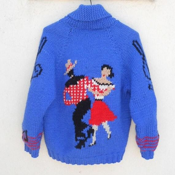 Vintage 50s Wool Knit ROCKABILLY Cowichan Sweater