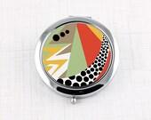 Art Deco Bold Compact Mirror, Carnival Colors Pocket Mirror, Retro Bold Bright Colors Purse Mirror