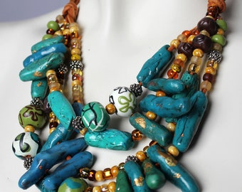 Chunky Turquoise Statement Necklace / Coral and Teal Printed Beads / Multistrand Blue and Gold Jewelry