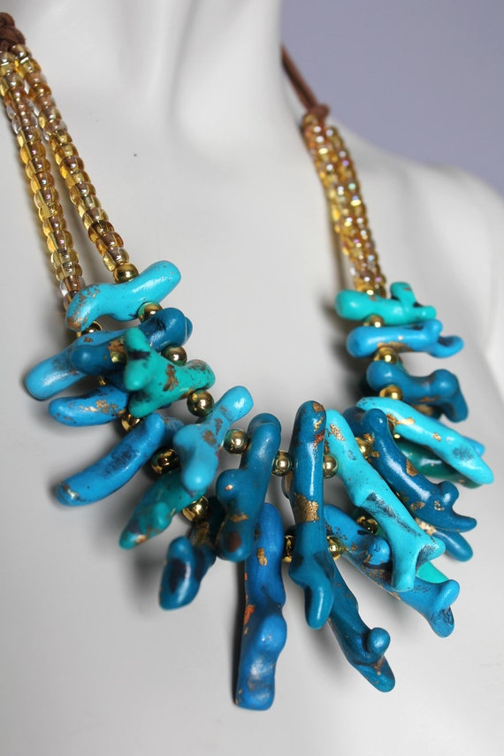 Chunky Turquoise Coral Necklace Handmade Clay By