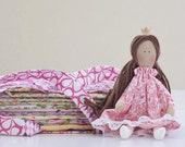Cloth doll Princess and the Pea play set fairy tale rag doll Princess doll fabric doll brunette stuffed doll pink Easter gift
