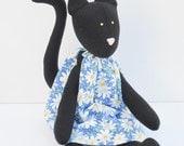 Custom order for Krissy - Black cat plush toy- cute kitten doll in blue dress- stuffed animal toy,softie cat handmade animal doll