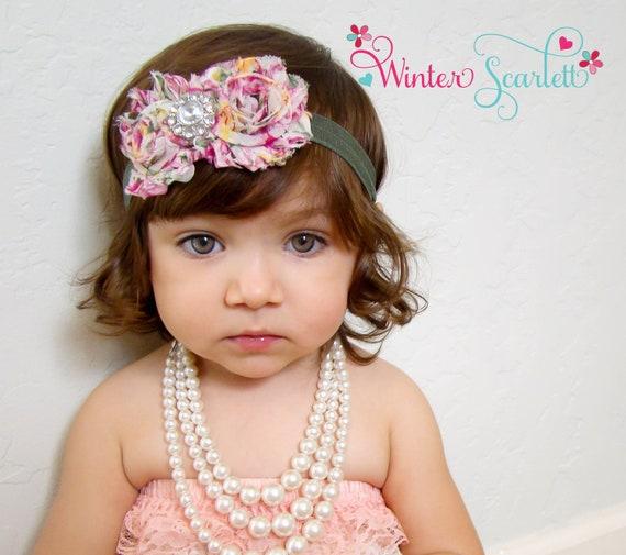 20% off entire order.. Baby headbands...Floral rosette rhinestone flower's on coral headband, newborn headbands, infant, toddler, adult