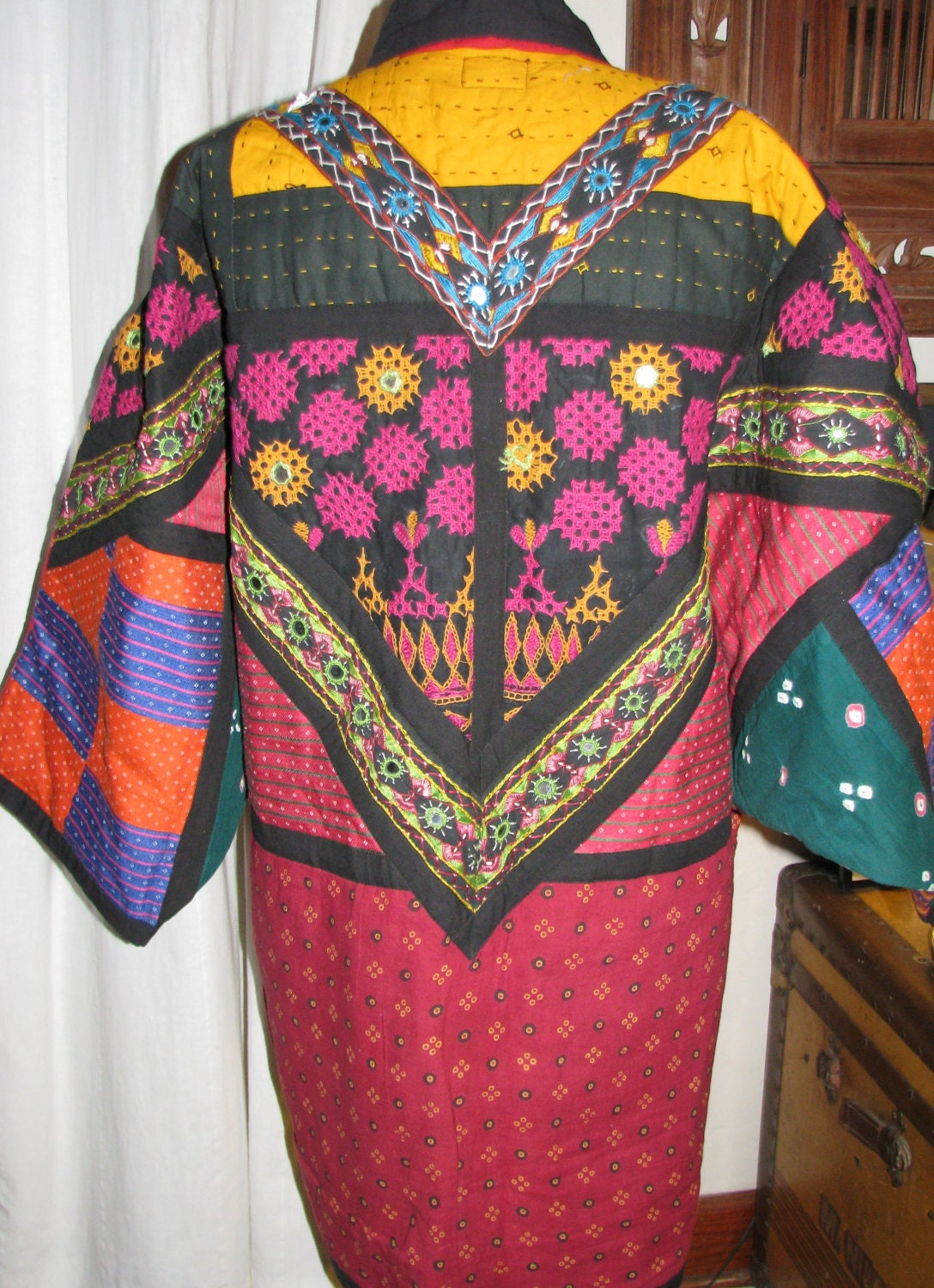 This is an amazing quilted kimono kantha jacket by revampworld