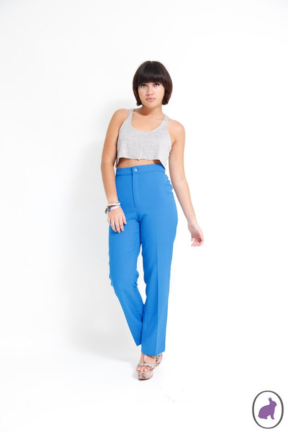 70s High Waisted Cobalt Blue Polyester Pants - Casual House Trousers - Size US 4