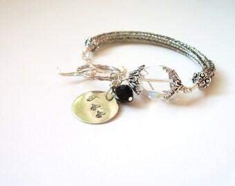 Personalizeable Viking Knit Bracelet - Asymmetrical in Silver, Black & White