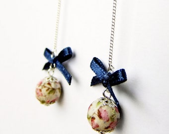 Blue and pink floral earrings, fabric covered bead and satin bow