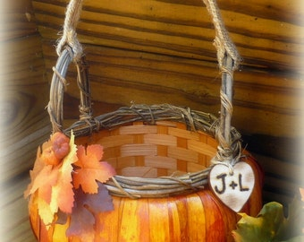 Pumpkin Flower Girl Basket Rustic Wedding Personalized Custom