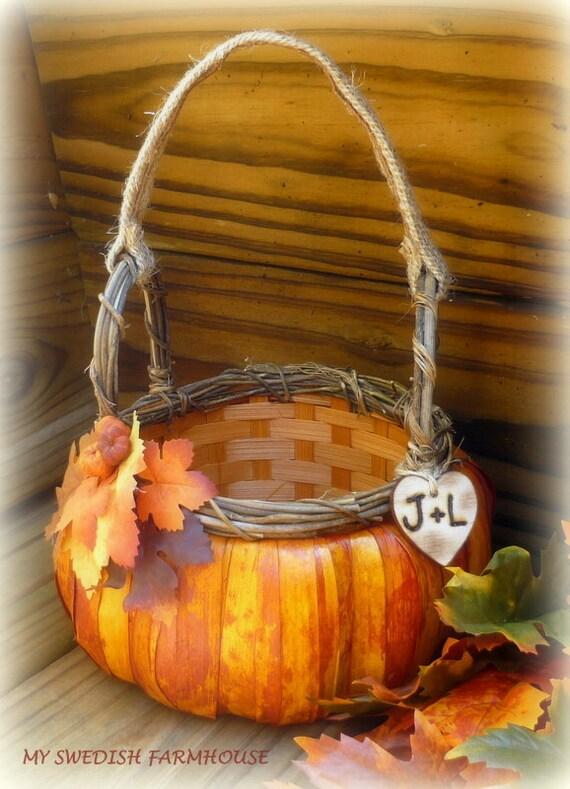 Flower Girl Baskets Fall : Pumpkin flower girl basket rustic wedding by