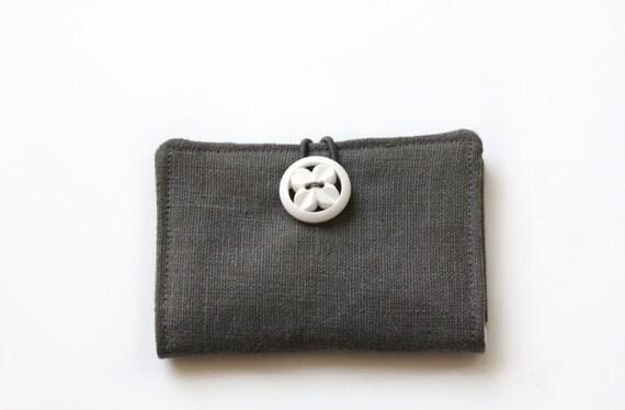 Gray Linen Business Card Case, Card Holder, Credit Card, Gift Card Holder, Vintage Button