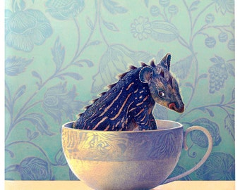 Monster in a Teacup - Art - Prints & Posters - Giclee - Giclee Reproduction Print - Art Print - Monster Art