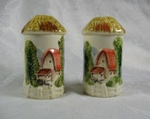 Vintage Salt & Pepper Shaker Set Tall Thatched Silos Fenced Country Barn and Farm