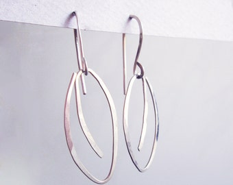 Silver Dangle Leaf Earrings - Contemporary Modern Mininalist Hook Earrings - Hammered Sterling Silver - Bridesmaid Gift - Wedding Gift