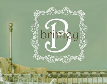 Baby Girl Nursery Wall Decal Damask Monogram Decals Baby Girl Nursery Name Wall Decor Home Wall Decals