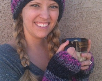 Matching Beanie and Fingerless Gloves Hot Pink, Gray & Black Chunky Warm Winter