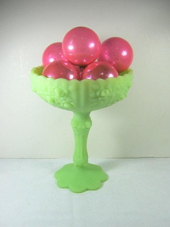 Vintage Fenton Jadeite Compote Bisque Satin Lime Green Rose Candy Bowl