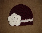 Baby Girl Maroon and White Crochet Flower Hat / Beanie, Texas A&M, TAMU, Aggie, Mississippi State Bulldog