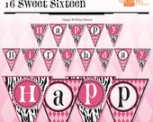 Zebra Happy Birthday - Banner - Hot Pink - DIY Print - Zebra Print and Hot Pink - Instant Download