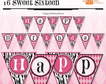 Zebra Happy Birthday - Banner - Hot Pink - DIY Print - Zebra Print and Hot Pink - Instant Download