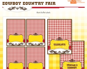 Cowboy Country Fair Birthday Party Printable Buffet Labels - Table Tents - DIY Print - Instant Download