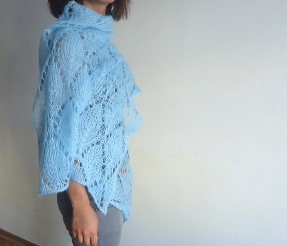 Lace shawl mohair yarn hand knitted  Scarves Blue  Mohair Knitted Shawl Handknitted  Wrap Scarves Clothing Plus Size.