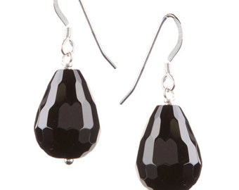 Black and silver drop earrings, Onyx Briolette drop earrings, Faceted Onyx drop earrings