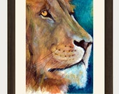 Proud African Lion Watercolor Print 5x7