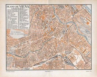 Vintage City Map Vienna Austria Street Plan 1920s